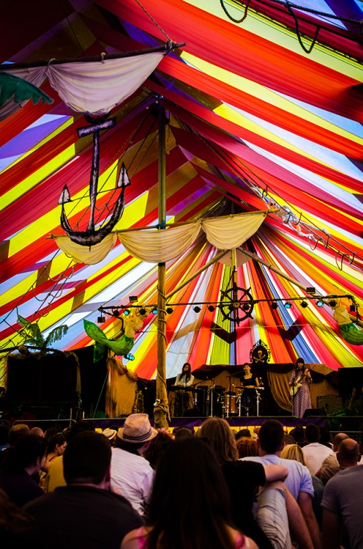 A boat stage inside a tent stage
