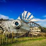 Big metal car fish